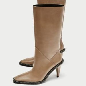 Zara Taupe High Heel Leather Boots